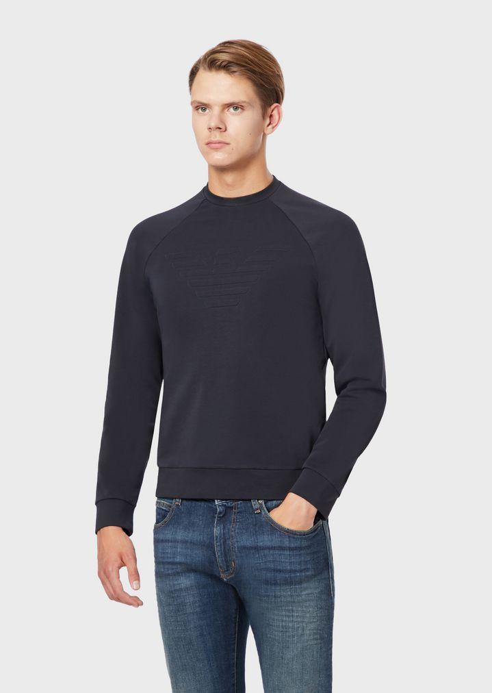 63b78cdbc2 Stretch cotton sweatshirt with embossed logo