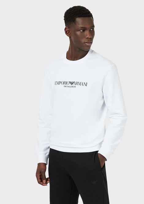 Stretch cotton sweatshirt with logo print