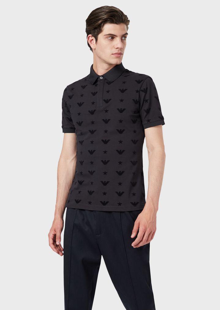 1f62508b Polo shirt in pure cotton with all-over jacquard logo | Man | Emporio Armani