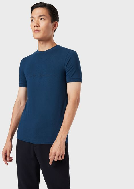 Mercerised viscose jersey T-shirt with a signature print