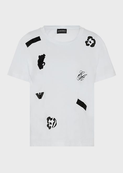 Mercerised jersey T-shirt with velvet patch prints and details