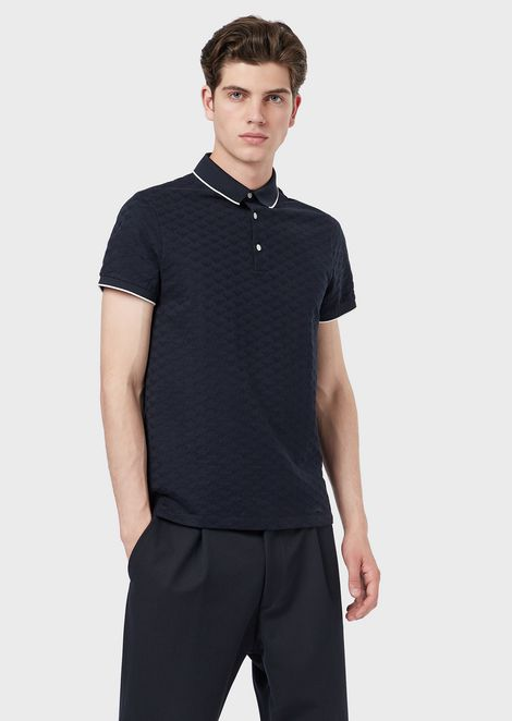 Mercerised cotton polo shirt with all-over jacquard logo