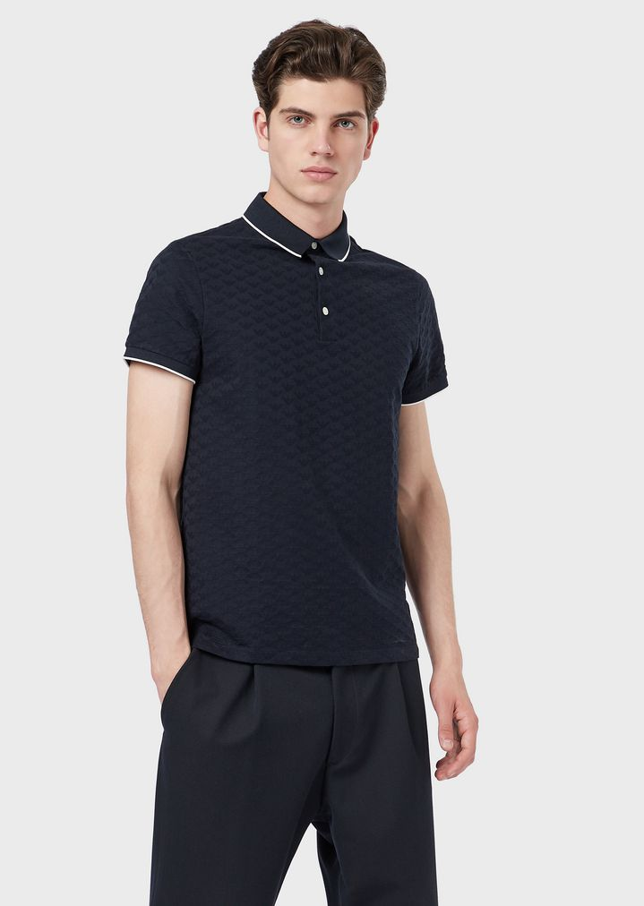 8d56008d3f Mercerised cotton polo shirt with all-over jacquard logo
