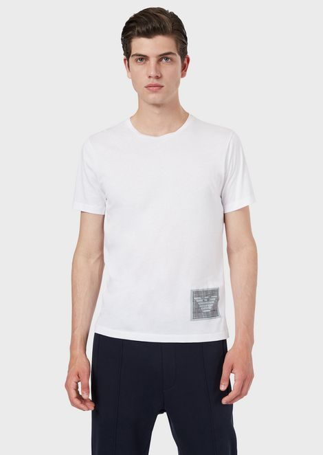 Jersey T-shirt with water-based print on the hem