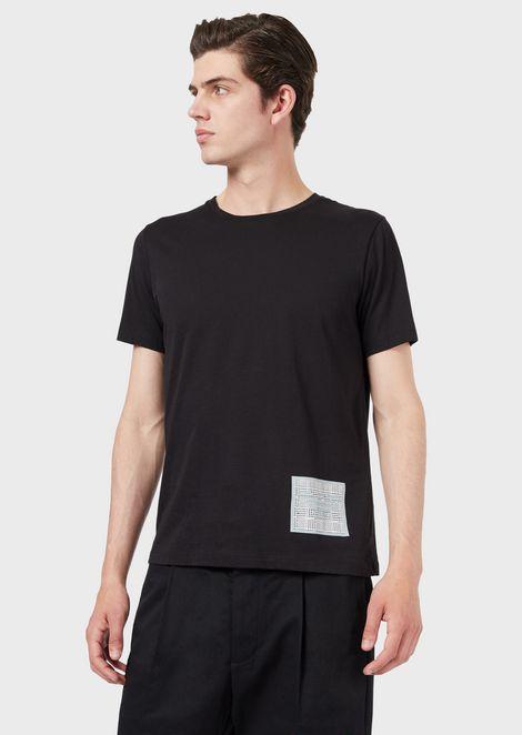 Camiseta de punto con estampado al agua en el bajo