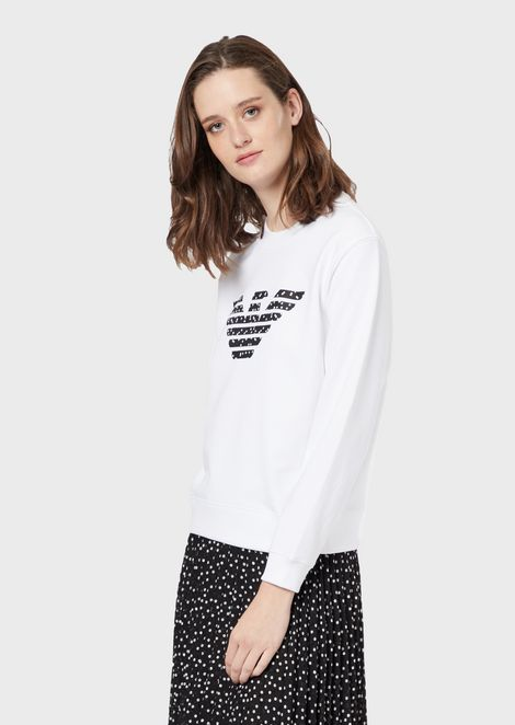 Sweatshirt with ornamental eagle print