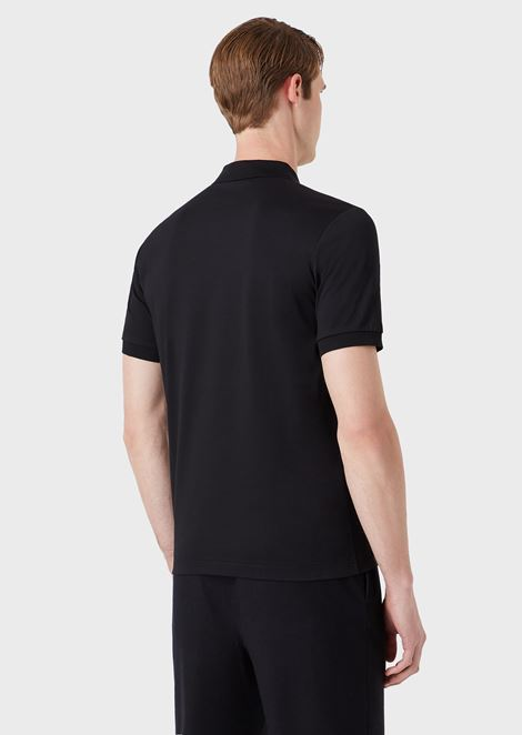 Stretch cotton micro piqué polo shirt