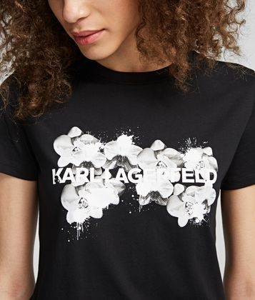 KARL LAGERFELD ORCHID LOGO T-SHIRT