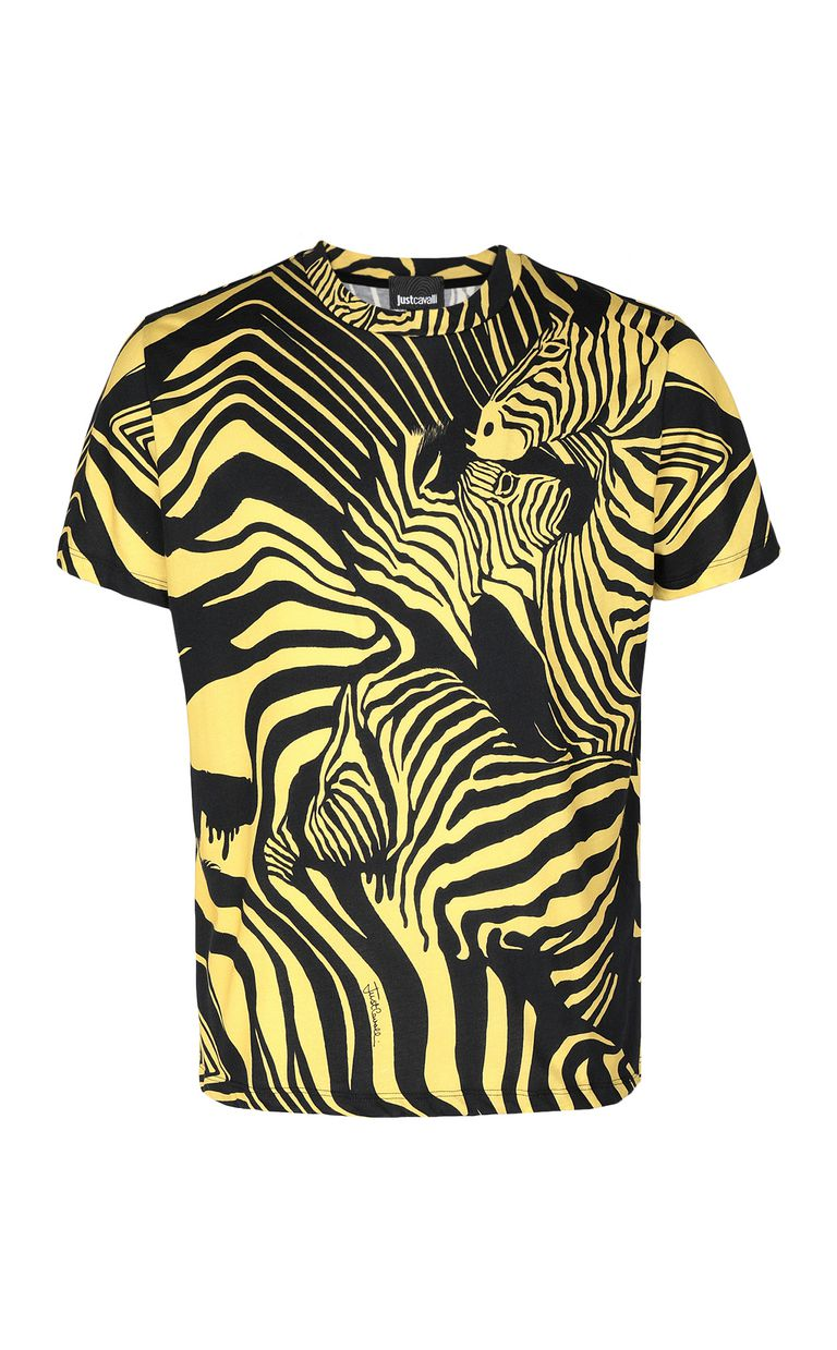 JUST CAVALLI T-shirt with zebra-stripe print Short sleeve t-shirt Man f
