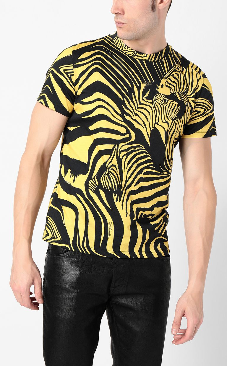 JUST CAVALLI T-shirt with zebra-stripe print Short sleeve t-shirt Man r