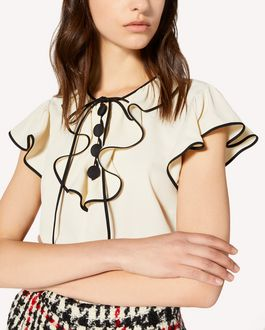 REDValentino Crepe de chine jacquard top with jabot detail
