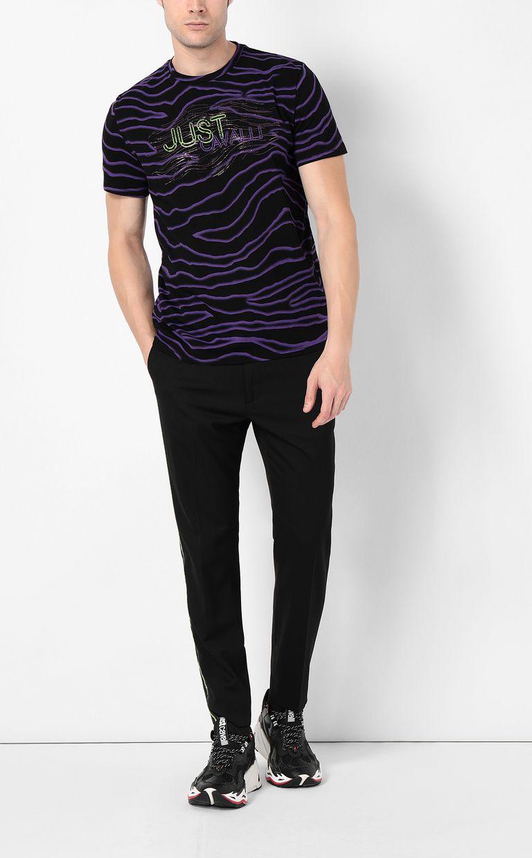 JUST CAVALLI T-shirt with neon-zebra print Short sleeve t-shirt Man d