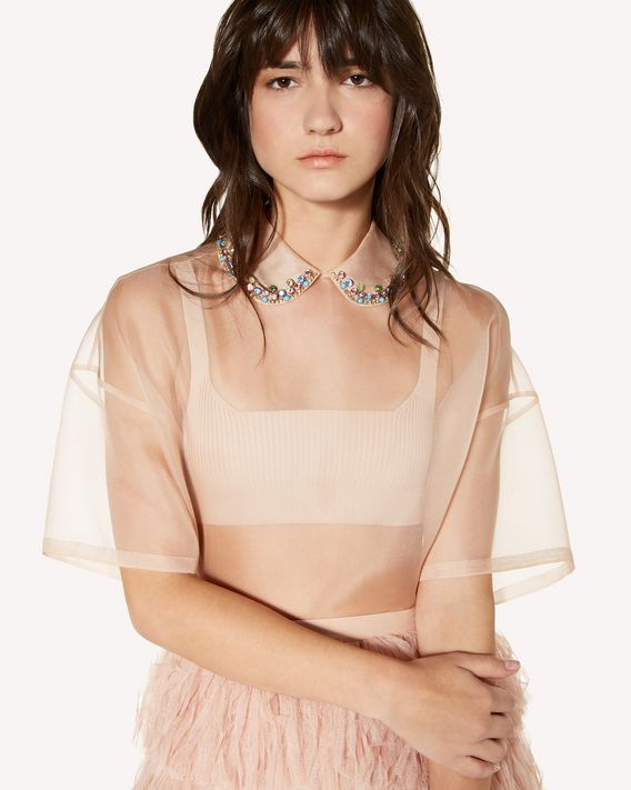 REDValentino Rhinestones embroidered silk organza top