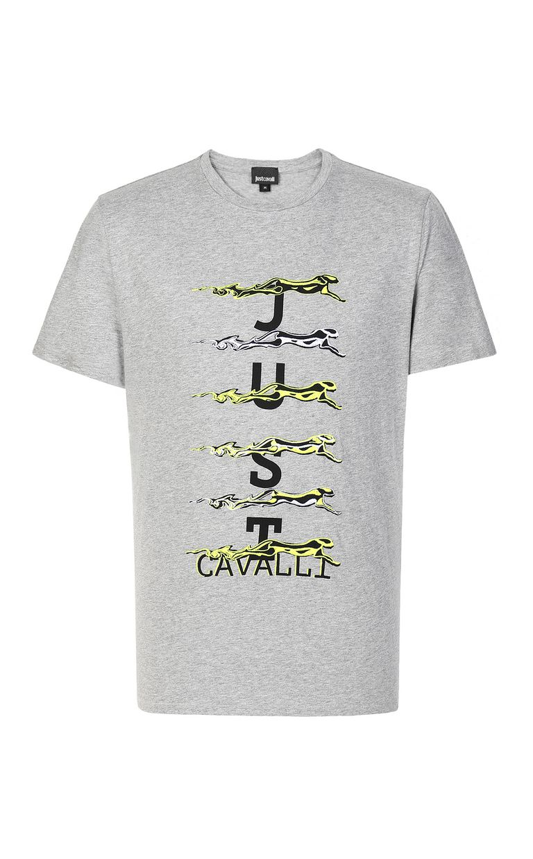 JUST CAVALLI Cheetah t-shirt with logo print Short sleeve t-shirt Man f