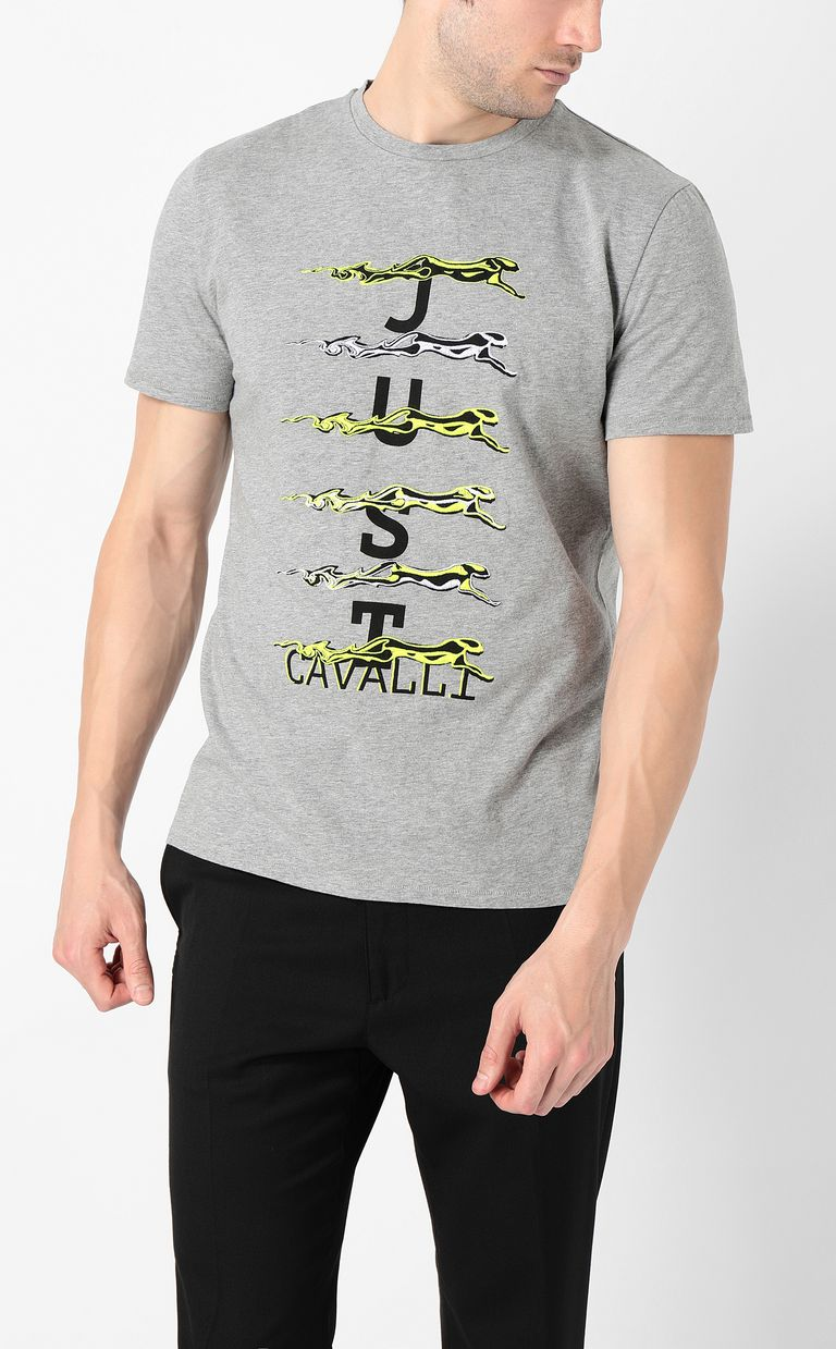 JUST CAVALLI Cheetah t-shirt with logo print Short sleeve t-shirt Man r