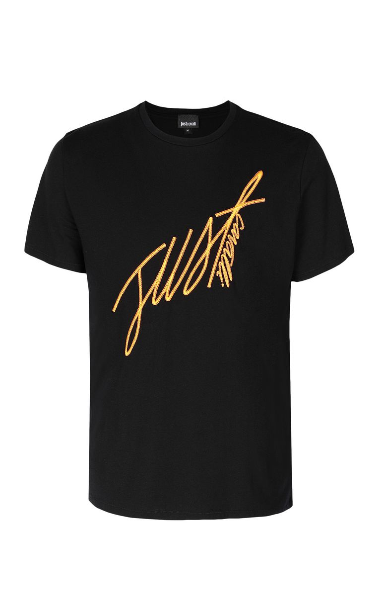 JUST CAVALLI T-shirt with signature logo print Short sleeve t-shirt Man f