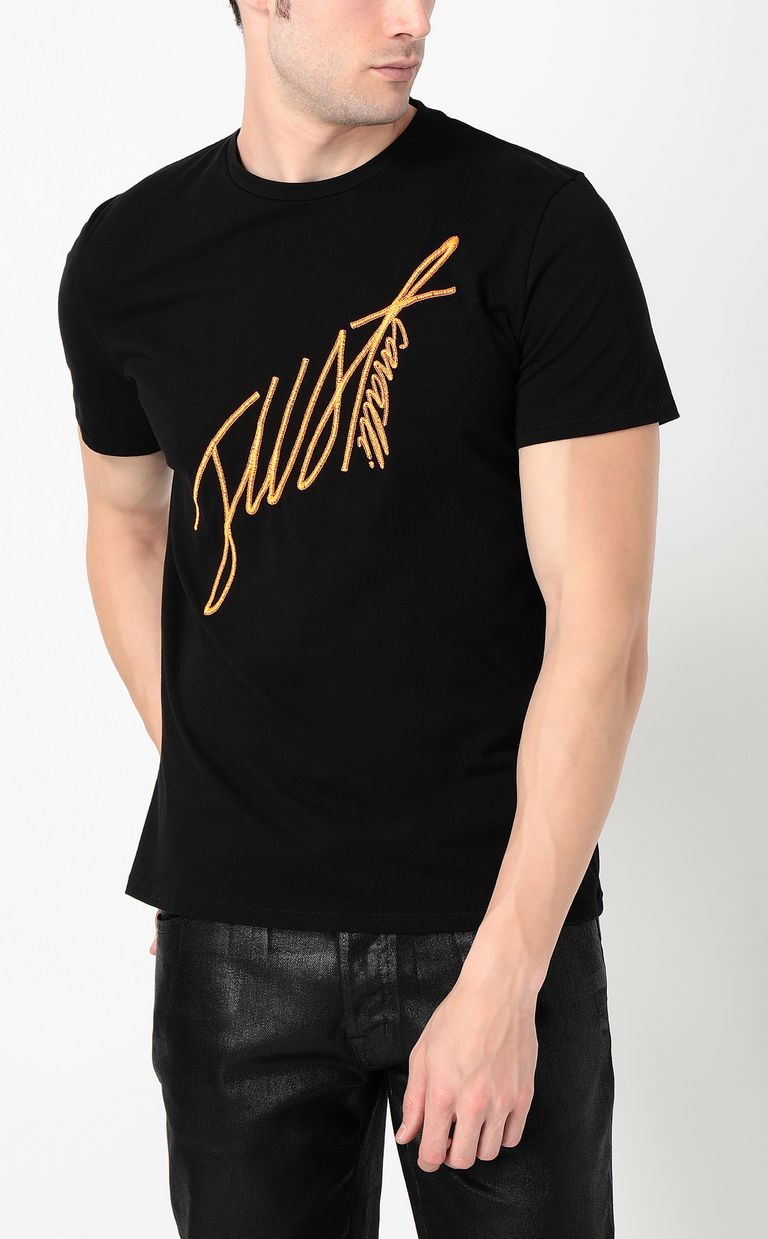 JUST CAVALLI T-shirt with signature logo print Short sleeve t-shirt Man r