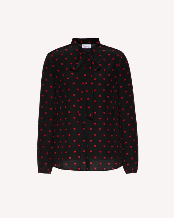 REDValentino Hearts printed silk top