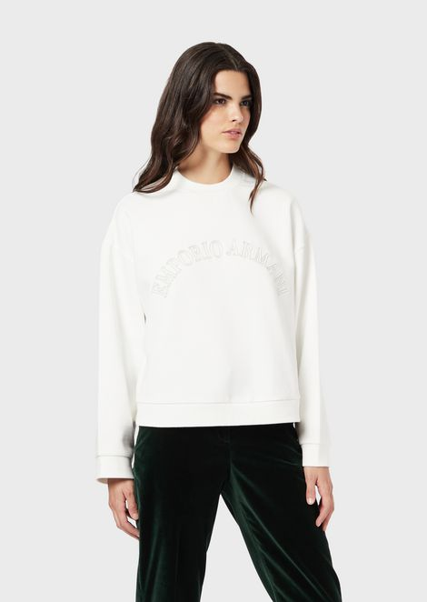 Sweatshirt with matching-tone logo patches