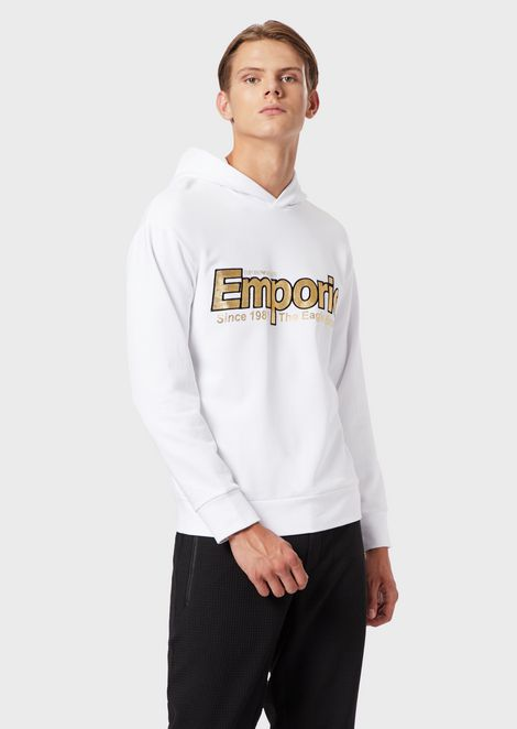 Sweatshirt with hood and reflective embroidered logo