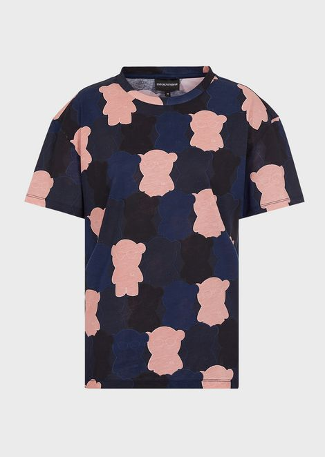 Jersey T-shirt with all-over Manga Bear design