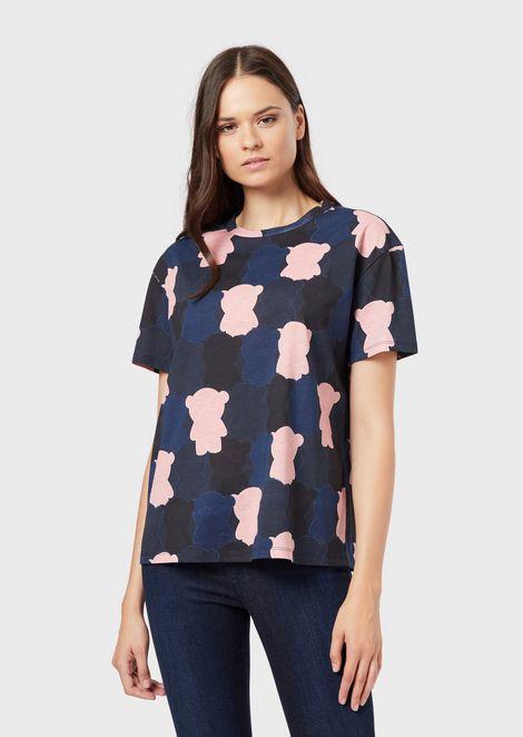 Camiseta de punto con estampado Manga Bear por toda la prenda