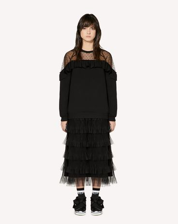 REDValentino Sweatshirt with tulle point d'esprit detail
