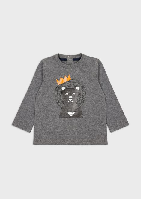 Long-sleeved T-shirt with bear print