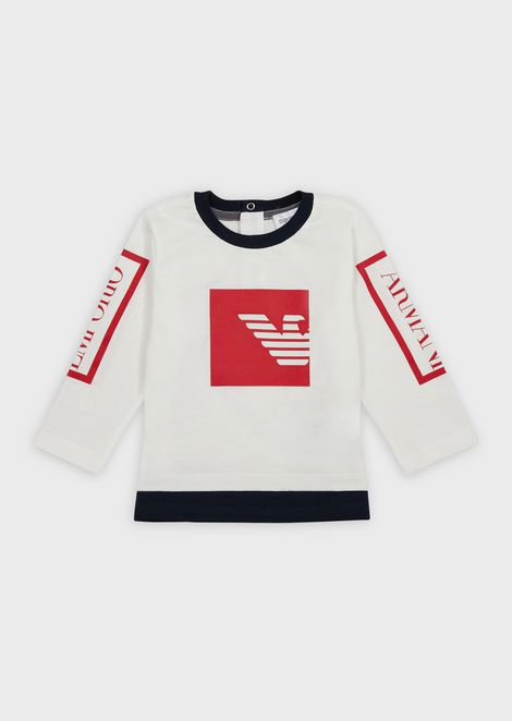 Jersey sweater with logo print