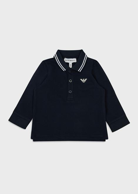 Long-sleeved piqué polo shirt