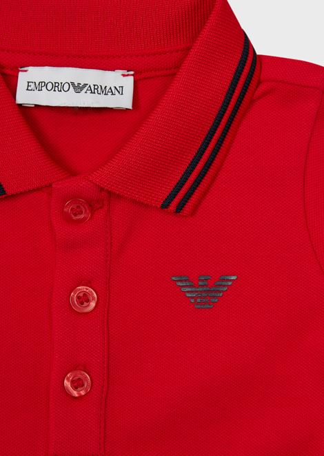 Piqué polo shirt with striped trim