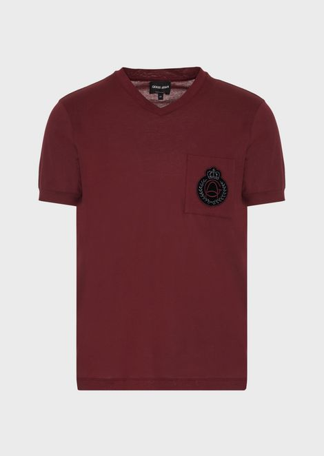 Jersey T-shirt in satin cotton with crest appliqué