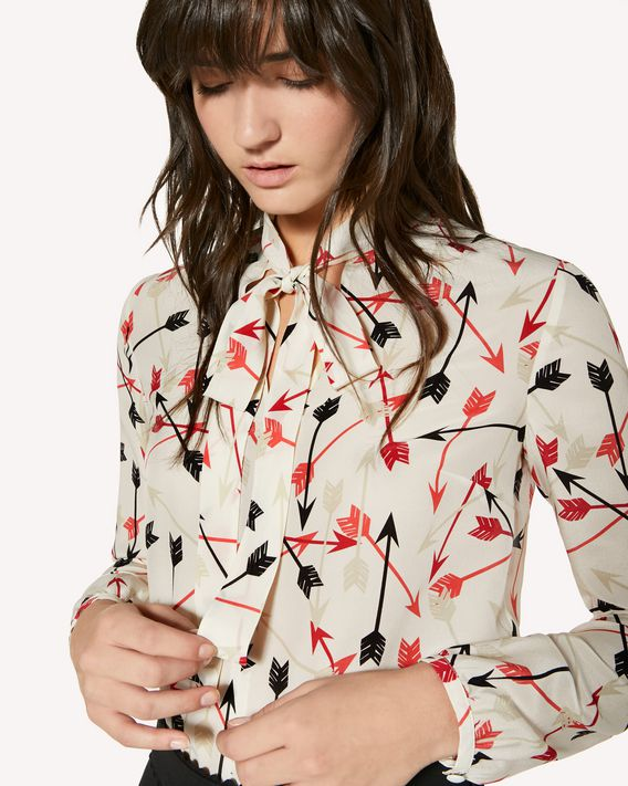 REDValentino Arrows printed silk top