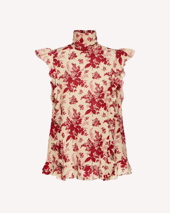 REDValentino Top in seta stampa Floral Tapestry