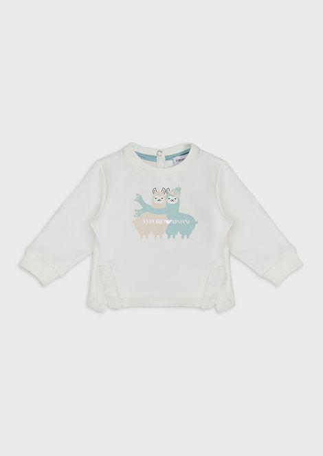 Stretch lightweight sweatshirt with alpaca and ruches