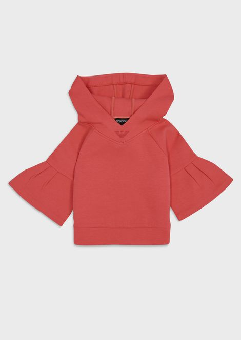 Sweatshirt with bell sleeves and hood