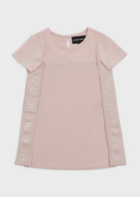 T-shirt with side bands and pleating