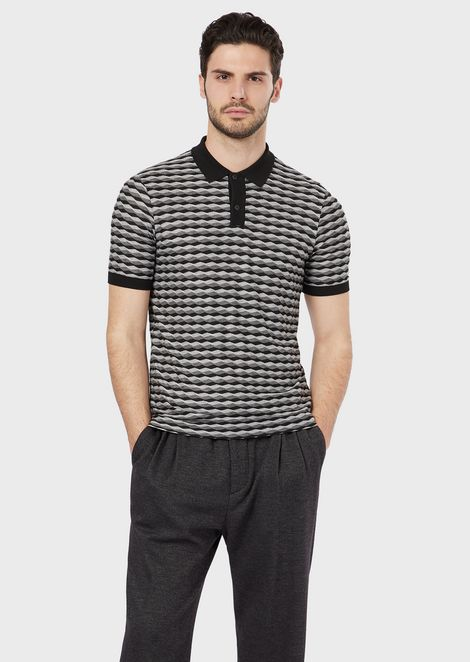 Polo shirt in horizontal wave fabric
