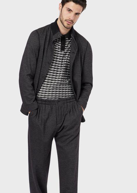 Polo shirt in horizontal wave fabric