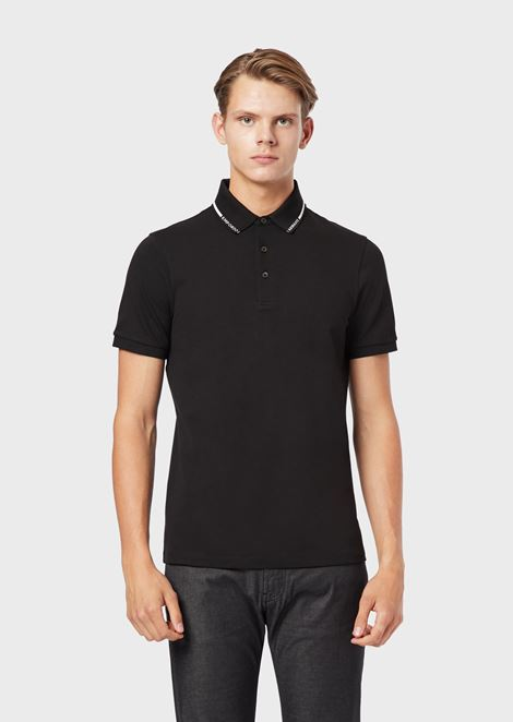 Stretch piqué polo shirt with logo collar