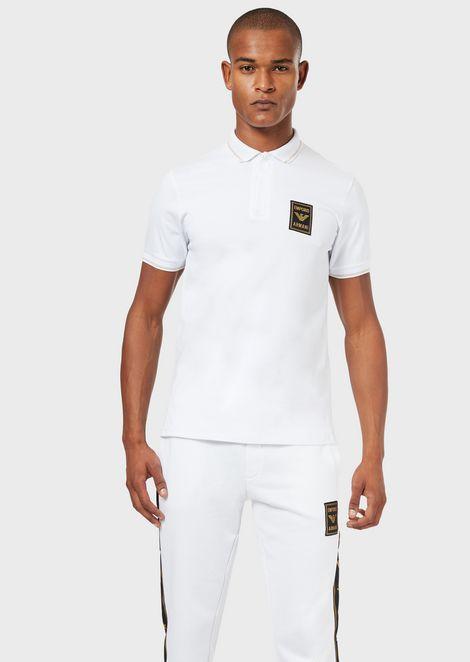 ポロシャツ ストレッチピケ製 ジッパー&ロゴパッチ