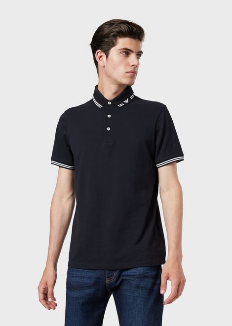 Stretch piqué polo shirt with logo collar
