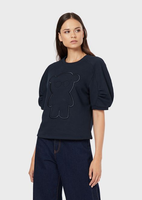 Puff-sleeved sweatshirt with Manga Bear embroidery