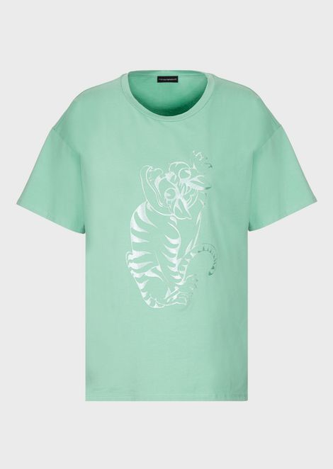 Jersey T-shirt with chenille LeoTigre.