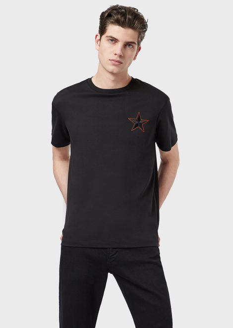 Jersey interlock T-shirt with embroidered star and eagle
