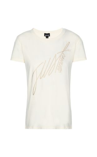 JUST CAVALLI Short sleeve t-shirt Woman T-shirt with logo and chain detail f
