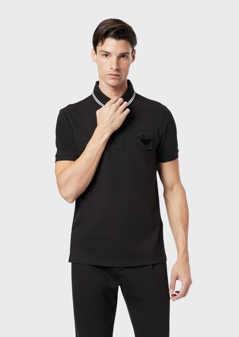 Stretch piqué cotton polo shirt with logo patch