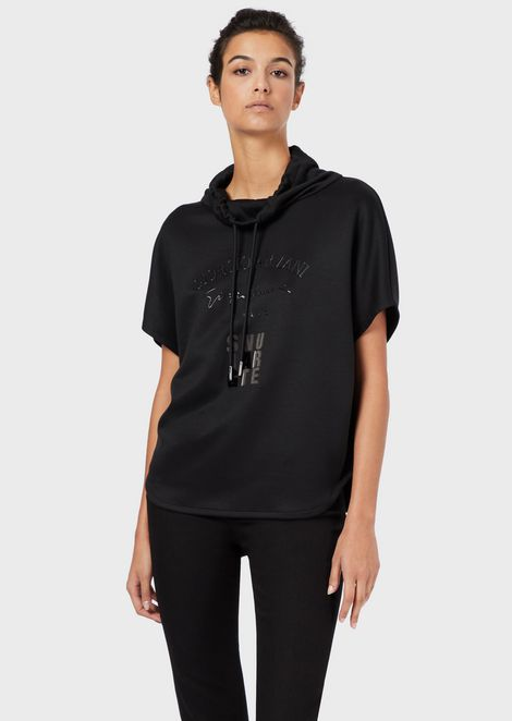 Short-sleeved hooded sweatshirt with Signature embroidery