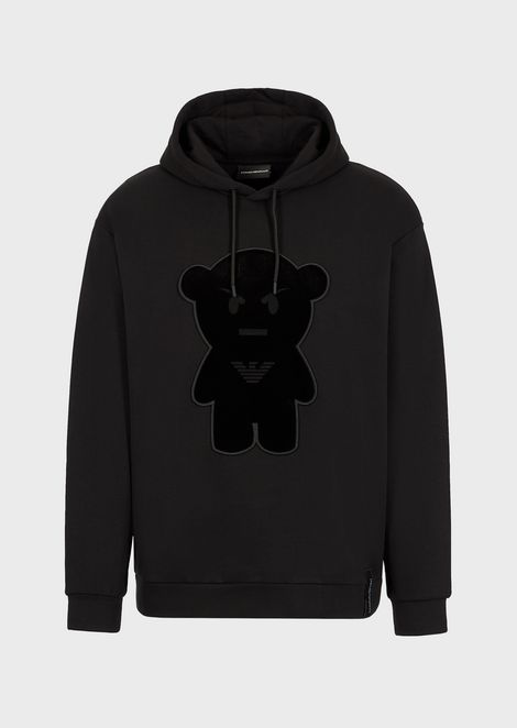 Hooded sweatshirt with oversized Manga Bear patch