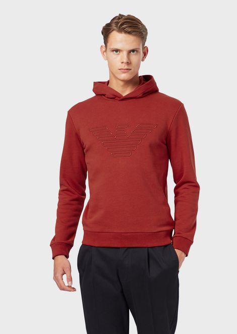 Sweatshirt mit Kapuze und Maxi-Adler als Stickerei